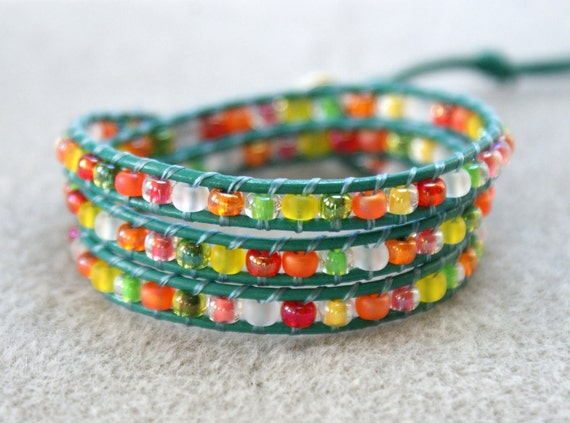Flamingo boho beaded leather wrap bracelet, 3 x Wrap bracelet, Chan Luu Style, multi color, pink, yellow, green, turquoise, on SALE
