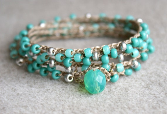 Turquoise boho crochet wrap bracelet or necklace, boho chic, bohemian jewelry, green, silver