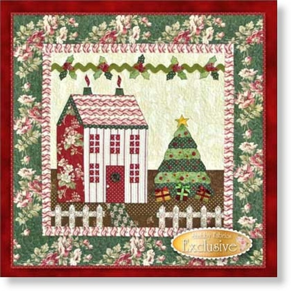 Free Quilt Patterns Of Houses : Little Garden House in Winter Quilt Pattern by Shabby Fabrics