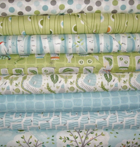 Fat Quarter Set of 8 Backyard Baby by Patty Sloniger for Michael Miller Fabrics