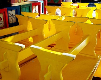 Yellow Benches-  fine art photography - brightly colored playful yellow benches stacked and ready for the next show.  8x10