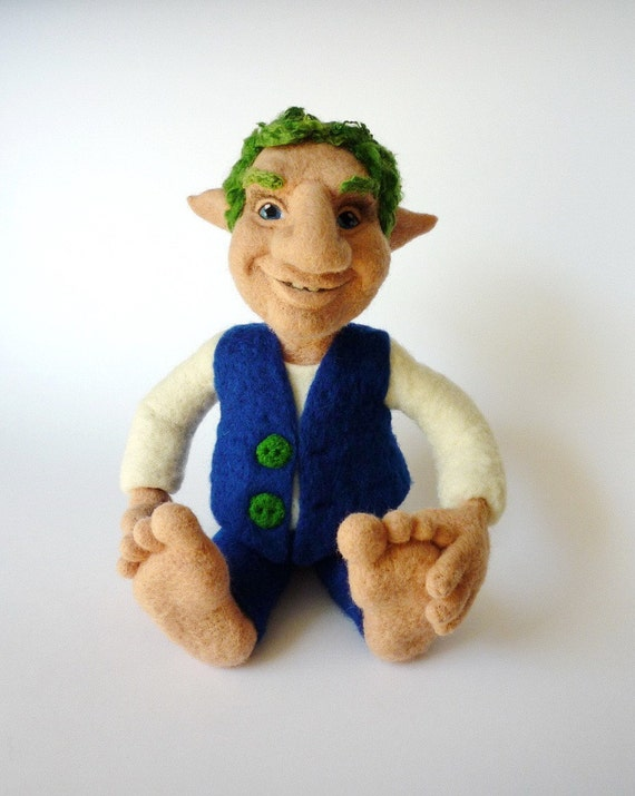 Hugo - the friendly gnome - one of a kind needle felted doll