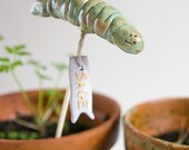 HAPPY WORM, ceramic garden marker for herbs, vegetables, flowers, customise yor own tag