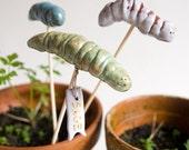 3 garden markers, green HAPPY WORMS, indoor and outdoor herb stalks for spring gardener by karoArt ceramics