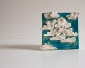 Clouds in the Sky, ceramic tile, decorative wall art for kids, unique pottery home decor, READY TO SHIP - karoArt