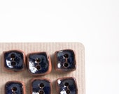25% SALE handmade buttons. navy, small, square, ceramic buttons. handmade needlecraft supplies. navy blue. rustic. set of 6.
