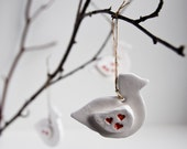 ceramic ornaments, white miniature birds, minimalist home decor, spring, easter ornament, handmade by karoArt