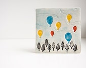 Birthday Balloons, ceramic tile, colorful hot air balloons, happy birthday gift, kids wall decor, cheerful summer home decor by karoArt