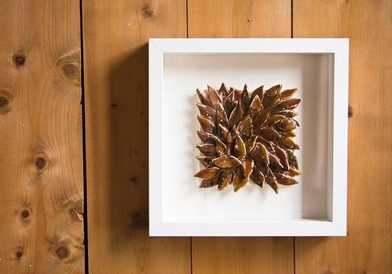 25% OFF SALE, Autumn Leaves, decorative ceramic wall tile, sculptural unique artwork by karoArt, Ireland