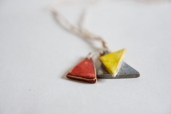 40% OFF SALE, geometric pendant, ceramic jewelry,  triangles on plaited, hand-spun, fair trade hemp twine, organic jewelry
