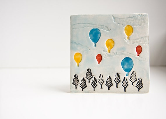 Birthday Balloons, ceramic tile, colorful hot air balloons, happy birthday gift, kids wall decor, cheerful summer home decor by karoArt