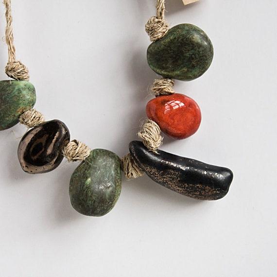ceramic tribal necklace, beaded jewelry, eco chic, organic fashion accessories, handmade in Ireland by karoArt