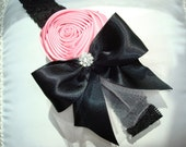 Baby Headbands, Flower Headband, Children,  Photo Prop  / Pink Flower with Black Bow Attached to Black Lace Headband