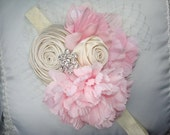 Pink Baby Flower Headbands,Flower Headbands, Pink and Cream Flower Headband,  Photo Prop, Weddings, Special Occasion,