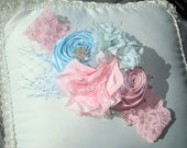 Baby Flower Headband, Baby Headband, Rosette Headband, Headband, Photo Prop / Baby Pink and  Powder Blue Rosette Headband