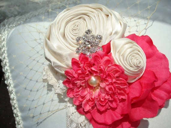 Baby Flower Headbands, Flower Headband, Womens Headband, Headbands,  Coral and Cream / Cream Rosettes Flowers / Cream Stretch Headband