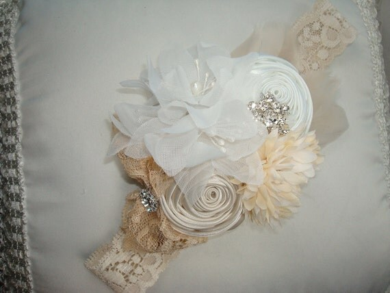 Headband - Baby Girl Flower Headband - Toddler Headband - Flower Headband / Cream and White Rosettes, Flowers, Cream Feathers