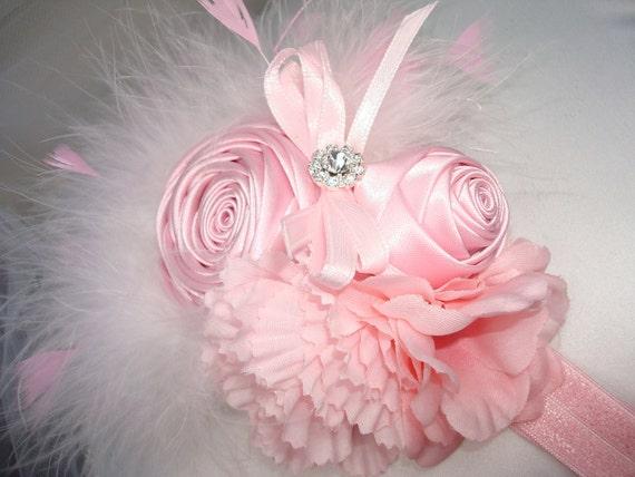 Baby Girl Flower Headband - Infant Headband - Baby Headband, Headband - Flower Headband - Photo Prop / Pink Rosette Headband with Feathers