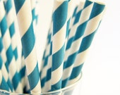 25 teal striped Paper Straws, AND Digital DIY straw tags (your color choice) Party Striped Straws biodegradable