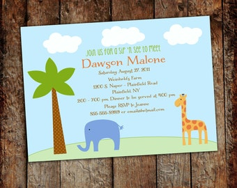 baby boy shower invitation safari themes with giraffe and elephant, digital, printable file (item 1243) baby shower invite