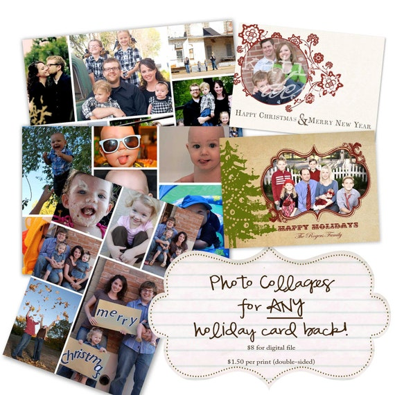 Christmas, Holiday or New Years greeting card, postage stamp with photos, digital, printable file (item 853)