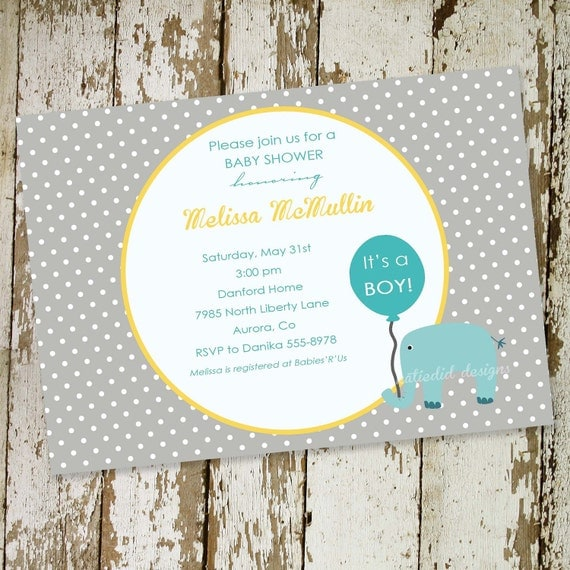 baby boy shower invitation blue elephant with balloon digital