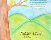 Personalized Baby Bird Watercolor Print