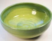 Wheel Thrown Medium Serving Bowl In Greens