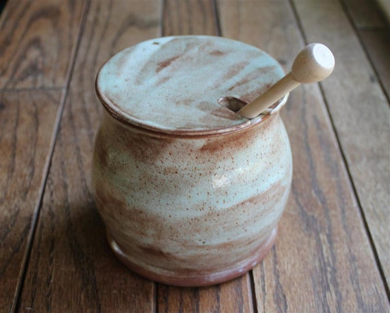 Light Blue and Speckled Brown Honey Pot