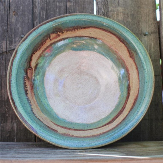 Large Wheel Thrown Serving/Fruit Bowl in Oatmeal, Turquoise and Speckled Tan