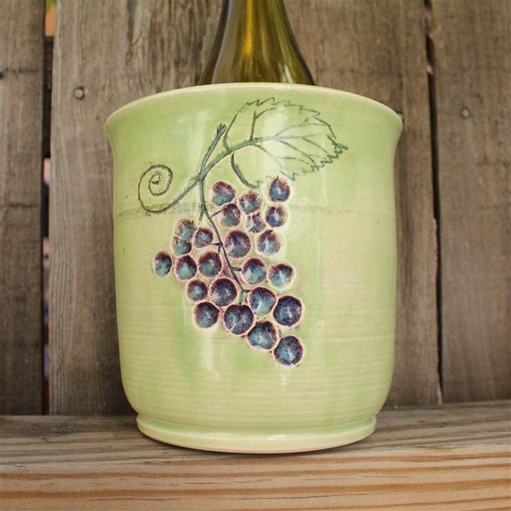 Handmade Stoneware Wine Chiller, Utensil Holder, Ice Bucket, Vase or Planter