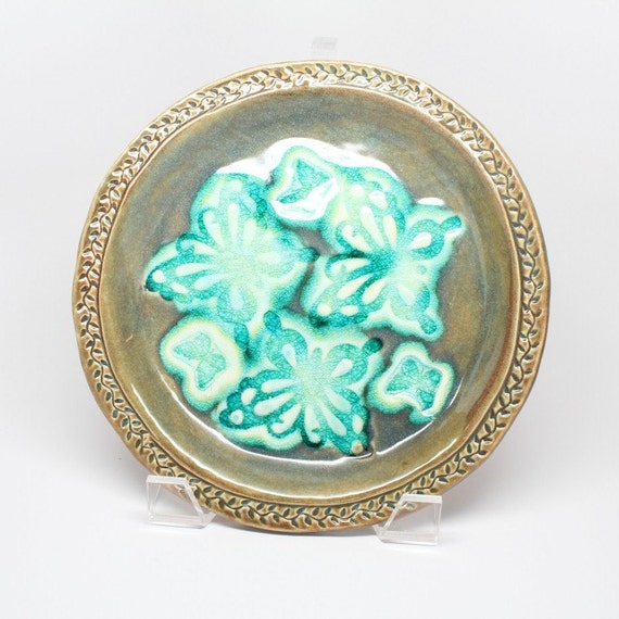 Handmade, Glass Infused, Stoneware Butterfly Plate in Olive and Aqua