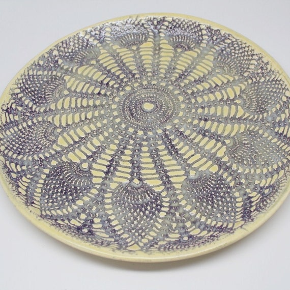 Lace Plate in Violet and Yellow