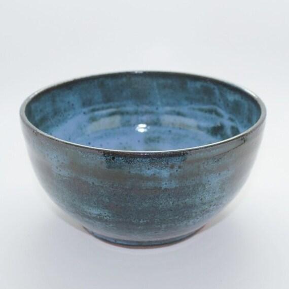 Wheel Thrown Mottled Blue Mixing Bowl