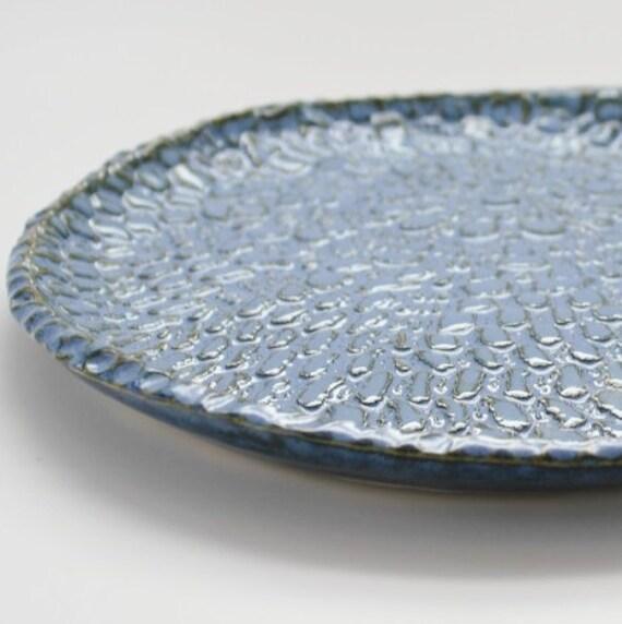 Lace Plate in Mottled Blue