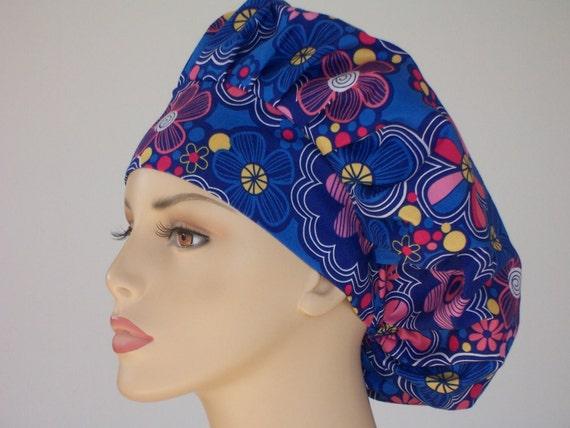 Bouffant Surgical Scrub Hat - Blue Fantasy Flowers