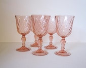 Arcoroc Pink Wine Glasses / Goblets