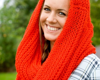 Red scarf , winter scarf, bright red. bright knit