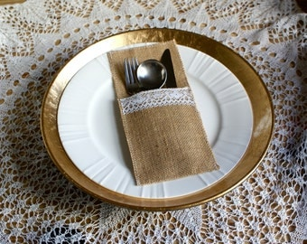 Burlap and lace silverware pockets - set of 6
