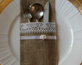 Burlap  silverware pockets - place cards set of 6
