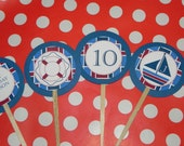 Nautical Baby Shower, Birthday Cupcake Toppers, 20