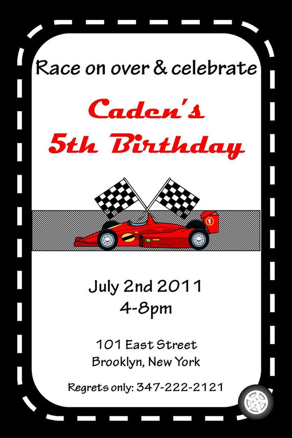 Cars Invitation Card Template Free: Items Similar To PRINTABLE Race Car Theme Custom Birthday