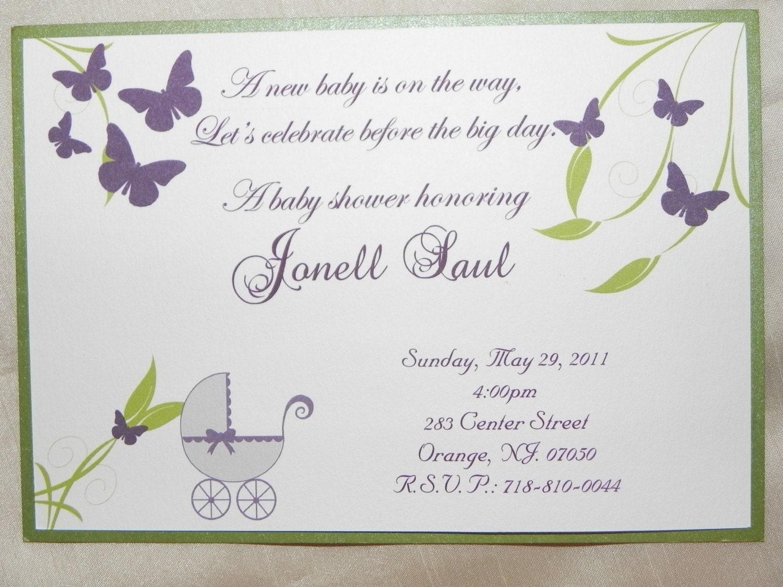 purple green butterfly baby shower invitation