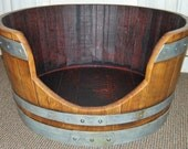 Cabernet Wine Barrel Pet Bed from Napa Valley, Wine Barrel Furniture for Dogs, Wine Barrel Furniture for Cats, Customized Engraved Name Tags