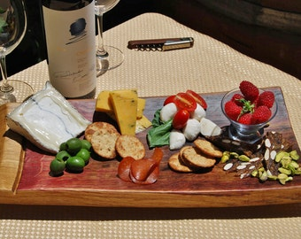 Extra Large Cheese and Charcuterie Board from Napa Valley, Wine Stave Party Platter, Wedding Reception Serving Tray, Wooden Serving Platter