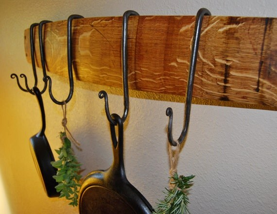 French Oak Wine Stave Pot Rack with Adjustable Hand-Forged Iron Hooks, Gifts for Chefs and Foodies, Hat Rack, Rustic Kitchen Storage Ideas