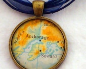 Anchorage Alaska Vintage Map Pendant with Necklace - OOAK - Necklace Options - Free Shipping