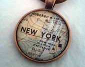 New York City Vintage Map Pendant with Necklace - OOAK - Necklace Options - Free Shipping