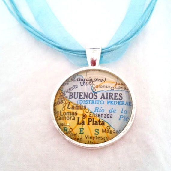 Buenos Aires Argentina Vintage Map Pendant with Necklace - OOAK - Necklace Options - Free Shipping