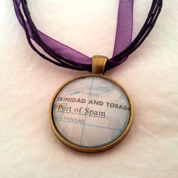 Port of Spain Trinidad and Tobago Vintage Map Pendant with Necklace - OOAK - Necklace Options - Free Shipping